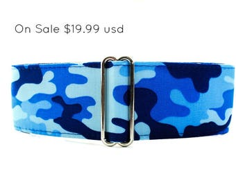 Camo Martingale Collar, Wide Dog Collar, Camo Dog Collar, Blue Martingale, Greyhound Collar, Blue Dog Collar, Whippet Collar