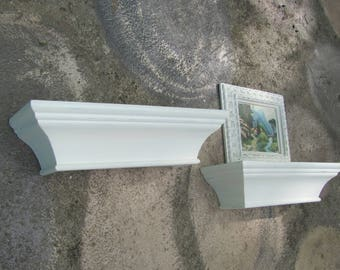 Crown Molding Shelves,  Pair of Cream Wood Wall Shelves, Antique White Painted Shelves