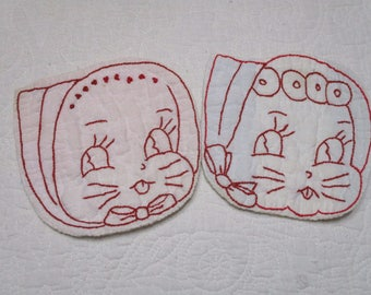 Vintage Quilted Embroidered Redwork Bunnies-Kittens