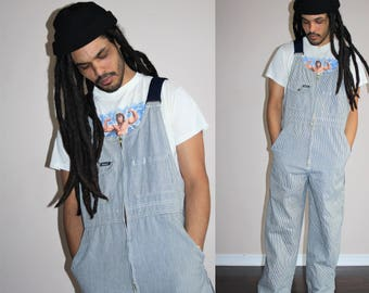 Overalls Denim Pants Dungarees Bib GRUNGE Suspender Blue Jean Pants Baggy Workwear 1990s Navy Stripe Work Wear Denim Overalls  - MV0393