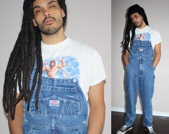 90s VTG  Blue Jean Oversize Hip Hop Denim Overalls - 1990s Vintage Overalls - 90s Clothing - MV0408
