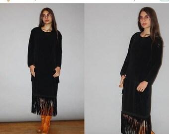 On SALE 35% Off - 1980s Designer Vintage Bill Blass Suede Fringe Minimalist Sac Dress -  Bill Blass  -  80s Designer Black Dress  - WD0833