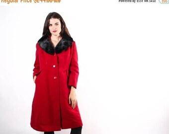 On SALE 40% Off - 1970s Red Wool Princess Coat  - Fur Coat  - Princess Coats - The Glass of Merlot Coat - 6017