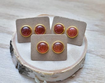20% EARRING STUD SALE Gold Round Red Carnelian Bezel 12mm Stud Earrings/ Red Orange Large Round Cabochon Gold Studs/ Natural Stone Gemstone