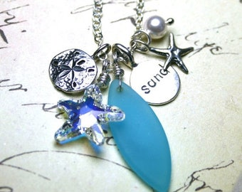 ON SALE Surf and Sand Necklace - Swarovski Crystal Starfish, Sea Glass and All Sterling Silver Necklace in Crystal AB