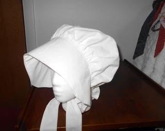 Pioneer Bonnet, Prairie Bonnet, Pilgrim Bonnet, Trek Bonnet - WHITE