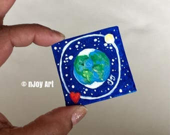 Earth Art magnet, miniature painting magnet, acrylic canvas art magnet for home or office.