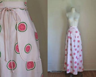 vintage vested gentress skirt - WATERMELON pink novelty print maxi / XS