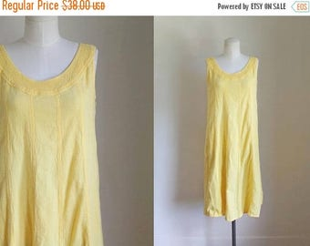 AWAY SALE 20% off vintage 1980s dress - LEMONADA yellow cotton gauze sundress / S-M