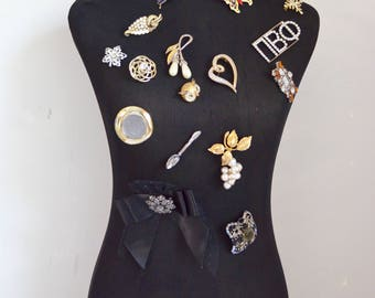 Mannequin Torso Black Clothing Dress Form Display W/ Vintage Brooch Pin Jewelry Display Decor Store