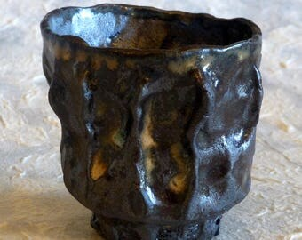 Hand Formed Guinomi with lots of texture and carved foot, Sake, Whiskey, Scotch Cup Hand Formed Signed by George Watson artist