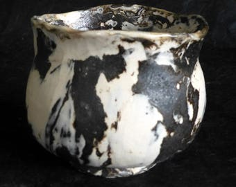Chawan Brown Stoneware and Porcelain Nerikomi Japanese Style Tea Bowl Neriage Pottery by artist George Watson. Signed