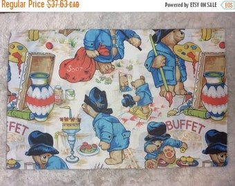 15% OFF Vintage 1970s Paddington Bear Single Standard Size Pillowcase Retro Rare Htf English Linens