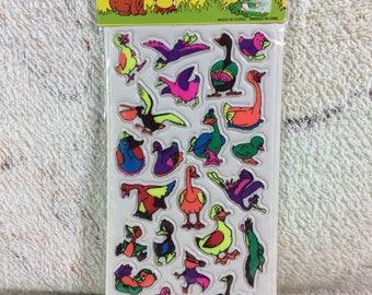 Vintage 90s Puffy Sticker Pack Sealed Unused Birds Ducks Animals