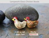 4 small cafe au lait tan chicken beads - lampwork glass - DIY jewelry and craft supplies - rooster hen