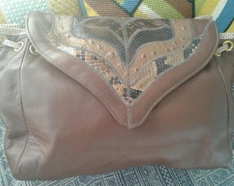 80s STEGIO for TROTTING Chocolate Snake Patches Shoulder Bag Softest Glove Leather Mint