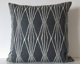 16x16 Robert Allen Handcut Shapes Charcoal Pillow Cover - Black Geometric Pillow