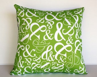 SALE SALE SALE Green decorative pillow, cushion cover Ampersand typography, green, 16 inch, 41cm
