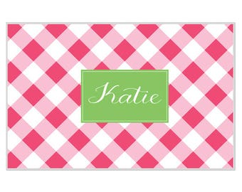 Personalized placemat Reversible pink buffalo checks personalized monogram or name