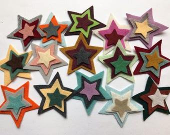 """Wool Felt Star Die Cut 45 ct. - Sizes 1 - 2"""" Random Colored  4125 -  Kids Crafts - Crafting Supply - Felt Board - Arts and Crafts - DIY Felt"""