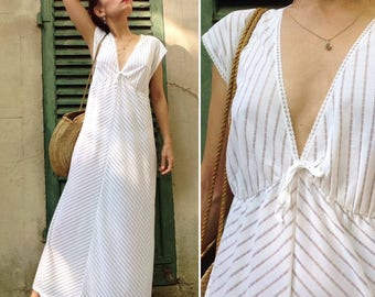 1970s romantic french gown // white rayon stripes summer maxi night dress
