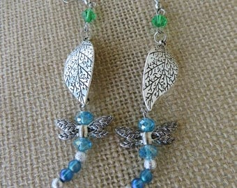 Dragonfly On Leaf Dangling Statement Earrings