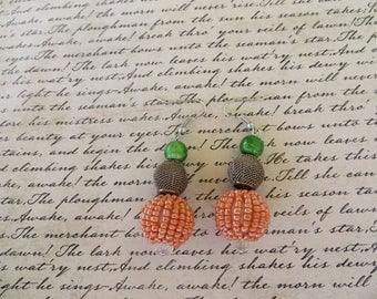 Orange Green And Bronze Toned Beaded Dangling Earrings