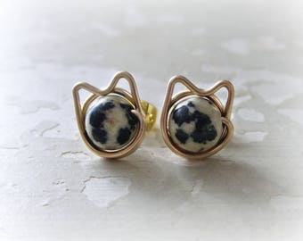 Spotted Cat Earrings, Spotted Cat Studs, Cat Earrings, Gold Cat Earrings, Cat Jewelry, Cat Lover Gift, Gold Post Earrings, Cat Crazy