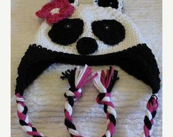 Crochet Panda Bear Earflap Hat Custom Size Newborn to Preteen