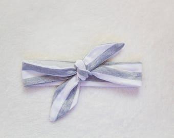 Grey Stripe Knot Headband
