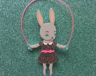 Skipping Bunny Handmade Perspex Brooch - Rainbow Glitter Dress
