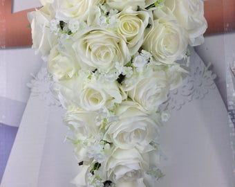 New Artificial White Wedding Teardrop Bouquet 15 In Length Babys Breath And Rose