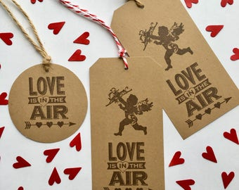 Valentine Tags Cupid Valentine's Day Tag Rustic Wedding Love is in the Air Anniversary Engagement Hearts Arrow Brown Kraft Cardstock