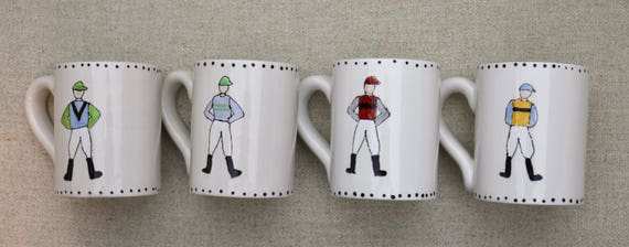Jockey coffee mug, Race Horse coffee mug, Horse racing mug, Equestrian coffee cup, Derby coffee mug, Derby coffee cup