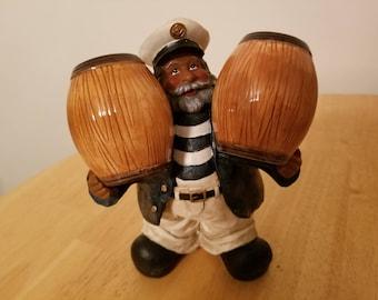 Vintage Sailor with Barrel Salt and Pepper Shakers
