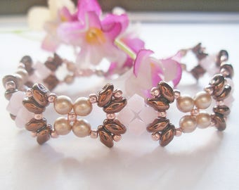 Beading Bracelet PDF Pattern - Rose Bronze Superduo Bracelet (BB183) - Beaded Jewelry PDF Tutorial (Digital Download)