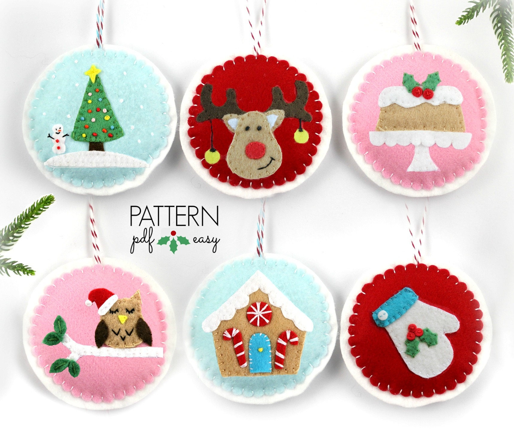 Christmas Felt Decorations Patterns: Christmas Ornament Pattern, Felt Christmas Ornament, DIY