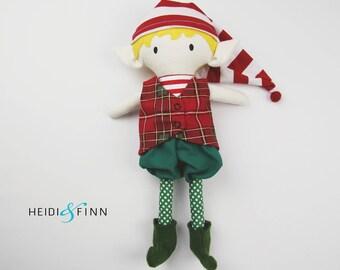 OOAK Holiday Elf Mini Pals soft rag doll keepsake gift ready to ship boy blond