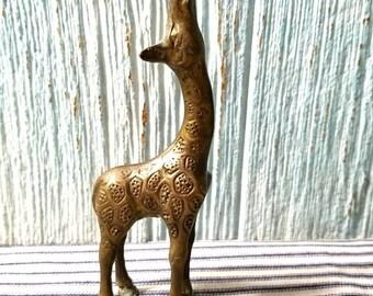 Yearly Big Sale: Vintage Brass Baby Giraffe Figurine, Hollywood Regency Mid Century Modern Retro Decor