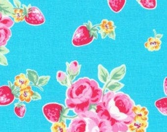 Floral strawberries in light blue from the Flower Sugar Berry Fall 2017 fabric collection by Lecien of Japan - 31512L-70
