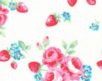 Floral strawberries in white from the Flower Sugar Berry Fall 2017 fabric collection by Lecien of Japan - 31512L-10