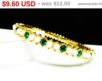 Vintage Rhinestone & Bead Bangle Bracelet - Green Rhinestones and White Pearlescent Beads - Retro Jewelry