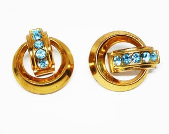 Signed Coro Rhinestone Earrings - Inline Teal Blue Chatons Rhinestones - Round Gold tone Screw Back Earrings - Vintage 1950s Mid Century