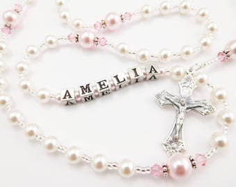 Personalized Baptism Gift Rosary in White and Pink Swarovski Pearl - Catholic Gift for a Baby Girl -  First Communion, Confirmation
