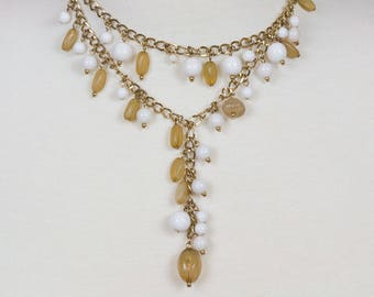 Gold 2 strand necklace Amber agate and white jade beads Chain and bead pendant extension Mid century Excellent vintage condition Feminine