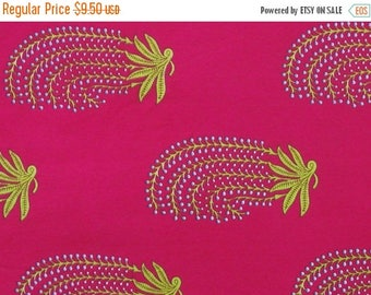 CIJ SALE floral print cotton fabric - floral motifs on hot pink - 1 yard - ctjp143