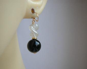 Black Crystal Murano Glass  Earrings