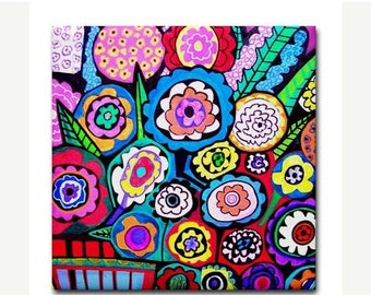 45% Off Today- Kitchen Tile  Flower Tile  Abstract Flowers Floral art Tile Ceramic Coaster Print of painting by Heather Galler