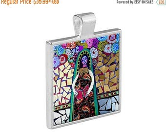 55% Off Today- Virgin of Guadalupe Necklace Mexican Folk Art Jewelry - Pendant Metal  Gift Art Heather Galler Gift Vegan Gifts