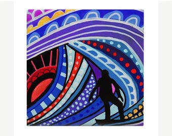 Surfer Girl Boy Art Ceramic Coaster Tile  Hawaii Surfing sunset North Shore Beach Surfboard Art ocean Heather Galler Artist
